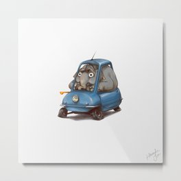 Driving Animals~ Elephant in a Peel P50 Metal Print