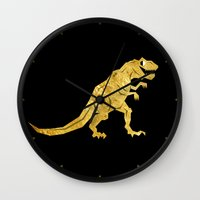 trex Wall Clocks featuring Golden T.Rex Pattern by chobopop