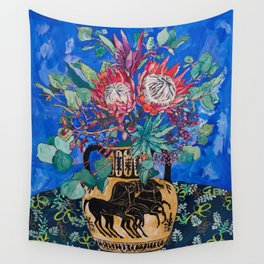 Painterly Bouquet of Proteas in Greek Horse Urn on Blue Wall Tapestry