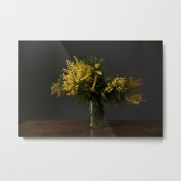 Yellow flowers in a vase Metal Print