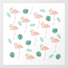 Hand painted pastel  pink flamingo tropical leaf watercolor pattern Art Print