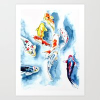 koi Art Prints featuring Koi  by Bridget Davidson
