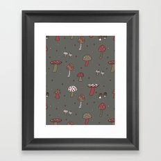 Mushrooms Gray Framed Art Print