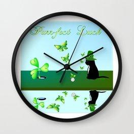"""""""Purr-fect Luck"""" Wall Clock"""
