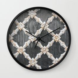 Old vintage steel wire mesh fence wall background Wall Clock