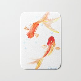 Goldfish, Two Koi Fish, Feng Shui, yoga Asian meditation design Bath Mat