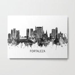Fortaleza Brazil Skyline BW Metal Print