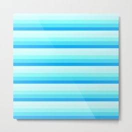 Turquoise Aqua Stripes Metal Print