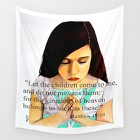bible Wall Tapestries featuring Matthew 19:14 Bible scripture by Saribelle by Saribelle Inspirational Art