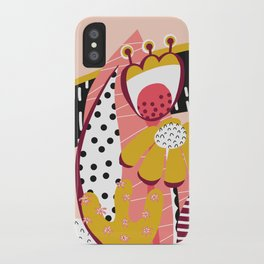 Collage Flowers pink, gold, white, black iPhone Case
