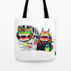 Totoro fan art (cat bus) by Luna Portnoi Tote Bag