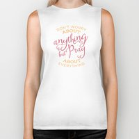 pocketfuel Biker Tanks featuring PRAYER OVER WORRY by Pocket Fuel