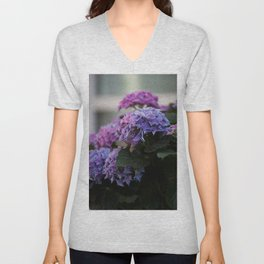 Big Hortensia flowers in front of a window Unisex V-Neck