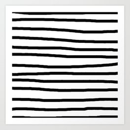 Simply Drawn Stripes in Midnight Black Art Print