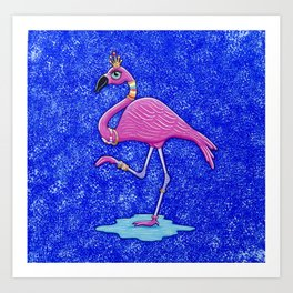 Fancy Francie Flamingo Art Print