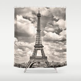 Eiffel Tower in sepia in Paris, France. Landmark in Europe Shower Curtain