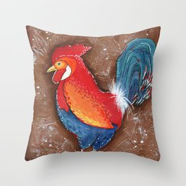 Colorful Rooster on Brown Background Throw Pillow