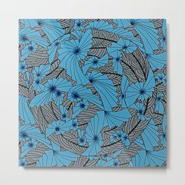 Mandala Blue Grey Abstract Metal Print