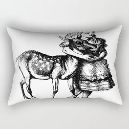 Alice and the Fawn in Black with Transparent Background Rectangular Pillow