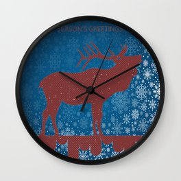SEASONAL GREETINGS From Colorado Elk ARTWORK Wall Clock