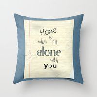home sweet home Throw Pillows featuring Home by Brandy Coleman Ford