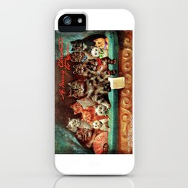 A Merry Christmas Greeting of Humanized Cats at the Opera by artist Louis Wain iPhone Case