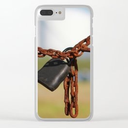 Rusty Chain With Padlock Clear iPhone Case