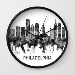 Philadelphia Pennsylvania Skyline BW Wall Clock