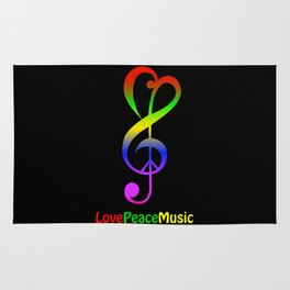 Love peace music hippie treble clef Rug