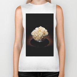 crunchy popcorn in glass bowl Biker Tank