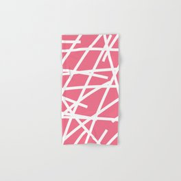 Abstract Criss Cross White Strokes on Pink Background Hand & Bath Towel