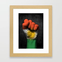 Kurdish Flag on a Raised Clenched Fist Framed Art Print