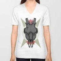 animal skull V-neck T-shirts featuring ANIMAL SKULL by Stefania Grippaldi