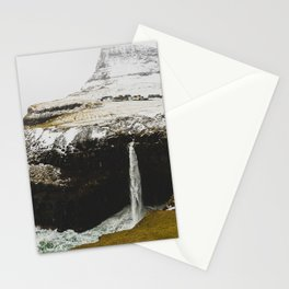 TIME LAPSE PHOTOGRAPHY OF WATERFALL LEADING TO OCEAN Stationery Cards
