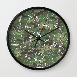 Grim Ripper Skater Camo WOODLAND GREEN Wall Clock