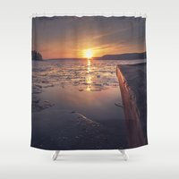 rowing Shower Curtains featuring December 2 by HappyMelvin