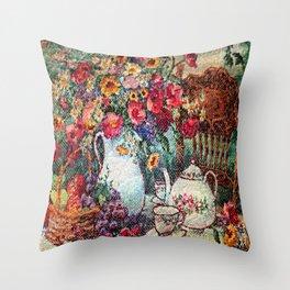 Vintage Tea Party Bouquet Throw Pillow