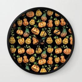 Cute Harvest Halloween Jack-O-Lanterns | Pumpkin Pattern on Black Wall Clock