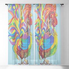 Fiesta Rooster Sheer Curtain