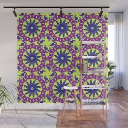 Chained Link Purple Spiral Flowers Wall Mural
