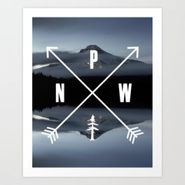 PNW Pacific Northwest Compass - Mt Hood Adventure Kunstdrucke