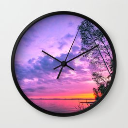 Day fading into the lake Wall Clock