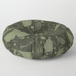 Green Herbs Spices / Olive Green Palette Floor Pillow
