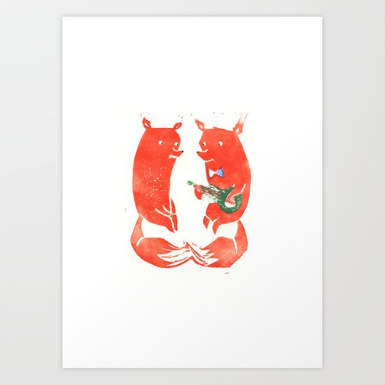 Mister Fox in love Art Print