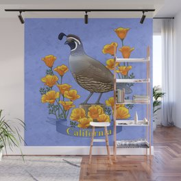 California State Bird Quail and Golden Poppy Wall Mural