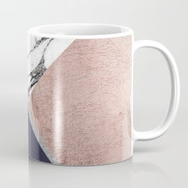 Marble Rose Gold Navy Blue Triangle Geometric Coffee Mug
