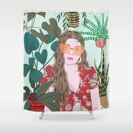 Tropical Girl Shower Curtain