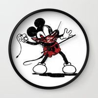 banksy Wall Clocks featuring Banksy Mouse by luis pippi