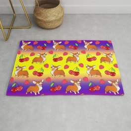 Cute happy playful funny puppy corgi dogs, red sweet summer strawberries and cherries colorful yellow purple red fruity pattern design. Rug
