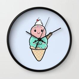 Cute Ice Cream Kawaii Wall Clock